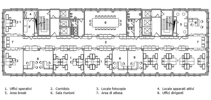 property management Figura 13 - Pianta piano tipo dell'edificio occupato da Banca Generali.png